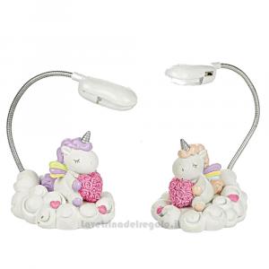 Lampada da tavolo Unicorno Rosa con arcobaleno in resina 8.5x7 cm - Bomboniera bimba