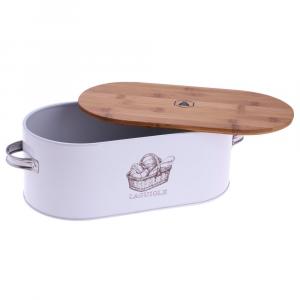 Porta Pane In Acciaio Con Coperchio In Legno Con Manici Decorato Utile In Cucina Casa Bianco e Marrone