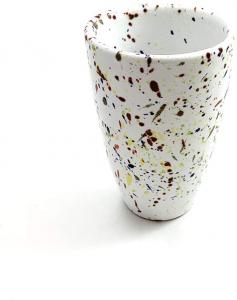 Tazza da Te Bicchiere caffè in Ceramica di Faenza Collezione Pois Dipinta a Mano