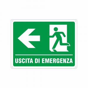 Cartello Uscita di emergenza a sinistra UNI EN ISO 7010