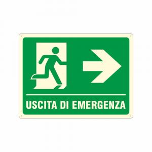 Cartello luminescente Uscita di emergenza a destra UNI EN ISO 7010