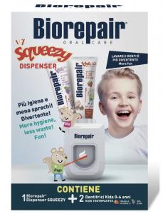 Biorepair Squeezy Dispenser + Dentifricio Bimbi Fragola/Uva 2x50ml 0/6 Anni