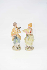 Pair Ceramic Statue Him And Her Made In Japan