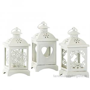 Lanterna Bianca portaconfetti in latta 7x7x14 cm - Bomboniera matrimonio