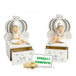Scatolina portaconfetti in legno con Ballerina in resina 5x10cm - Bomboniera comunione bimba