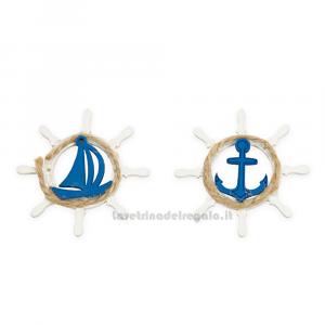 Applicazione tema mare Timone con Ancora e Barchetta in legno 5 cm - Decorazioni matrimonio