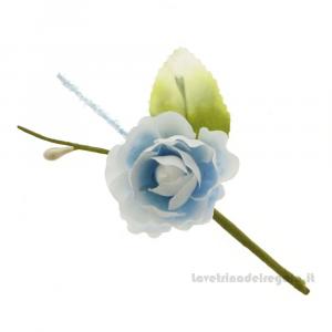 Rametto Fiore artificiale con rosa Celeste 10 cm - Decorazioni bomboniere