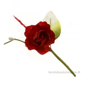 Rametto Fiore artificiale con rosa Rossa 10 cm - Decorazioni bomboniere