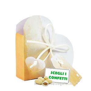 Portaconfetti Cuore Acquerello arancione 5x2.5x5 cm - Scatole bomboniere