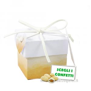 Portaconfetti cubo Acquerello arancione 5x5x5 cm - Scatole bomboniere