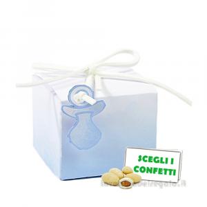 Portaconfetti Acquerello Celeste con ciuccio 5x5x4 cm - Scatole battesimo bimbo