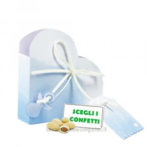 Portaconfetti cuore Acquerello Celeste con ciuccio 5x2.5x5 cm - Scatole battesimo bimbo