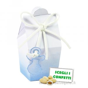 Portaconfetti bustina Acquerello Celeste con ciuccio 3.3x3.3x7.5 cm - Scatole battesimo bimbo