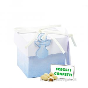 Portaconfetti cubo Acquerello Celeste con ciuccio 5x5x5 cm - Scatole battesimo bimbo