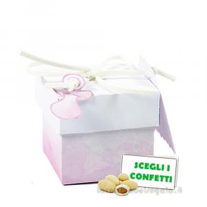 Portaconfetti cubo Acquerello Rosa con ciuccio 5x5x5 cm - Scatole battesimo bimba