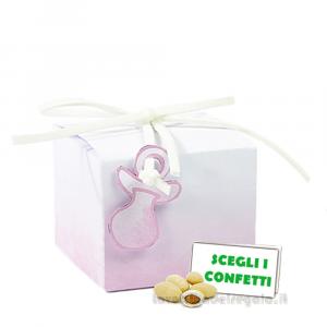 Portaconfetti Acquerello Rosa con ciuccio 5x5x4 cm - Scatole battesimo bimba