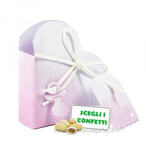 Portaconfetti Cuore Acquerello Rosa con ciuccio 5x2.5x5 cm - Scatole battesimo bimba