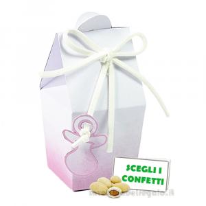 Portaconfetti bustina Acquerello Rosa con ciuccio 3.3x3.3x7.5 cm - Scatole battesimo bimba