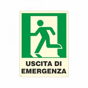 Cartello luminescente Uscita di emergenza a sinistra UNI EN ISO 7010