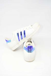 Scarpe Uomo Adidas N 43.1/3 Bianco Blu Metalizzato