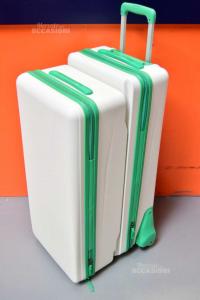Coppia Valige Bianco Verde Combinabili Con Ruote 45x38x87 Cm Nuovo