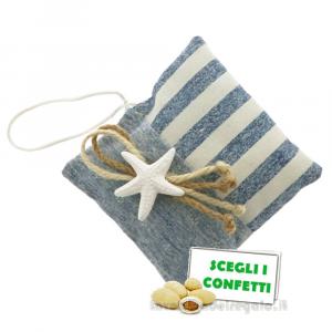 Portaconfetti cuscino con stella marina 11x11 cm - Sacchetti matrimonio