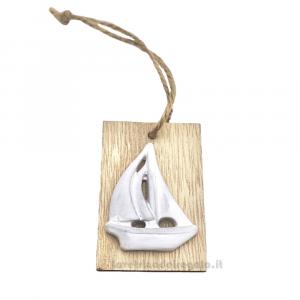 Targhetta tema mare in legno con Barchetta 4x6 cm - Decorazioni matrimonio