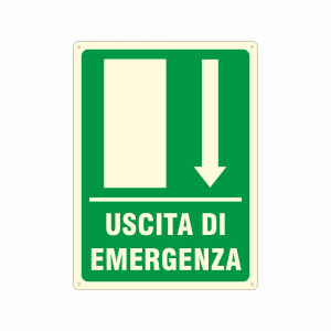 Cartello luminescente uscita di emergenza in avanti