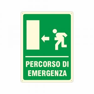 Cartello luminescente Percorso di emergenza a sinistra