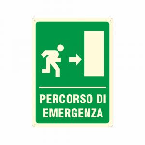 Cartello luminescente Percorso di emergenza a destra