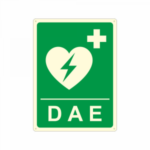 Cartello luminescente DAE Defibrillatore