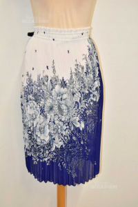 Skirt Woman Plissettata White And Blue Fantasy Flowers Size S