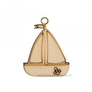 Ciondolo Barca a Vela in legno 4.5 cm - Decorazioni matrimonio