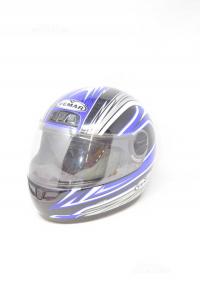 Helmet Motorcycle Vemar Blue Gray Black Size S