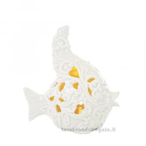 Pesce con luce LED in porcellana bianca lavorata 14x7x15 cm - Bomboniera matrimonio