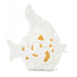 Pesce con luce LED in porcellana bianca lavorata 17x10x18.5 cm - Bomboniera matrimonio
