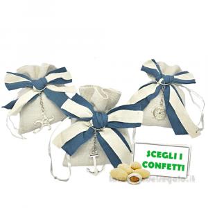 Portaconfetti con portachiavi tema mare 10x12 cm - Sacchetti matrimonio