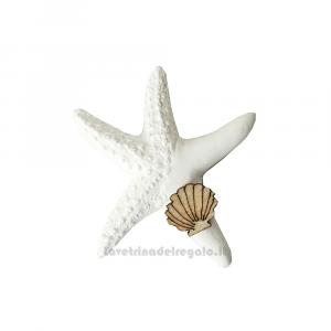 Gessetto tema mare Stella Marina con Conchiglia in legno 5 cm - Decorazioni matrimonio