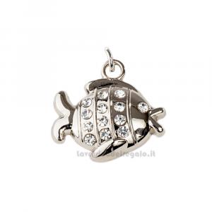 Ciondolo Pesciolino con strass in metallo 2.5 cm - Decorazioni matrimonio