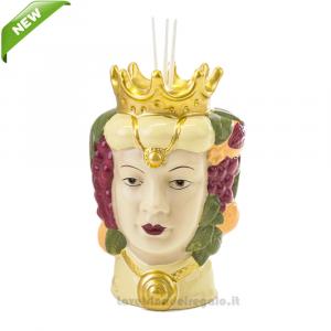 Profumatore Testa di Moro donna colorata in porcellana 11x10x15 cm - Bomboniera matrimonio