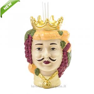 Profumatore Testa di Moro uomo colorato in porcellana 11x10x15 cm - Bomboniera matrimonio