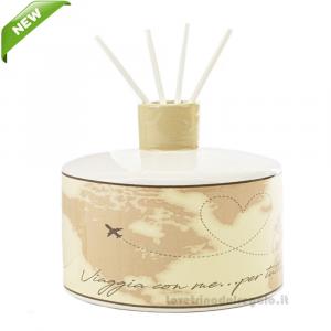 Profumatore con Cartina Geografica in porcellana 14x12 cm - Bomboniera matrimonio