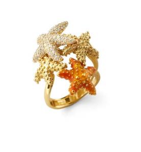 Anello con stelle marine in argento, smalto arancio e zirconi