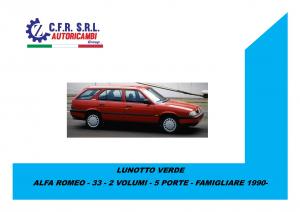 LUNOTTO VERDE PER ALFA ROMEO  33  FAMIGLIARE 5 PORTE 1983-1989