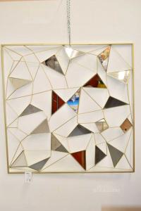 Specchio Reticolato Oro Con Specchietti 98x98 Cm Maison Du Monde