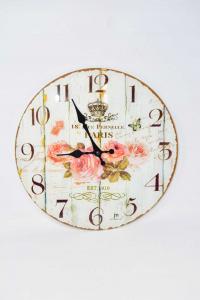 Orologio In Vetro Paris Con Rose Rosa Diametro 33 Cm*