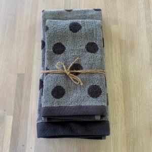 Coppia asciugamani pois bicolor grigio