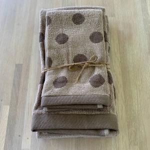 Coppia asciugamani pois bicolor tortora