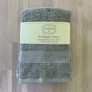 Coppia asciugamani grigio balza rigata