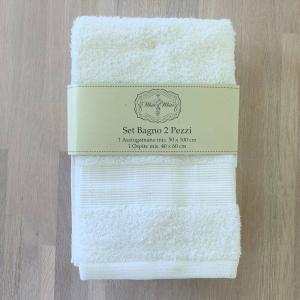 Coppia asciugamani bianca balza rigata